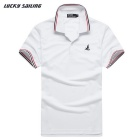Lucky Sailing Men's Quick-dry Short-sleeved Polo Shirt - White (L)