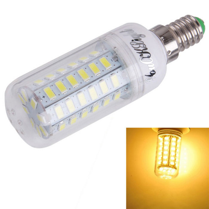 YouOKLight E14 15W LED Corn Light Bulb Warm White Lamp 3000K 56-SMDE14<br>Form  ColorWhite + SilverColor BINWarm WhiteModelYK1165MaterialAL + PCQuantity1 DX.PCM.Model.AttributeModel.UnitPowerOthers,15WRated VoltageAC 110 DX.PCM.Model.AttributeModel.UnitConnector TypeE14Chip BrandOthers,SananEmitter TypeOthers,5730Total Emitters56Theoretical Lumens1500 DX.PCM.Model.AttributeModel.UnitActual Lumens1480 DX.PCM.Model.AttributeModel.UnitColor Temperature3000KDimmableNoBeam Angle360 DX.PCM.Model.AttributeModel.UnitPacking List1 x LED Corn Bulb<br>