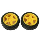 DIY 65mm Car Model TT Motor Wheel - Yellow + Black (2PCS)