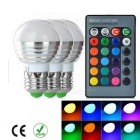 E27 3W Dimmable 1-LED Globe Bulbs RGB 180lm w/ Remote Controller (3PCS / AC 85-265V)