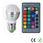 E27 3W Dimmable 1-LED Globe Bulbs RGB 180l w/ Remote Controller (3PCS)