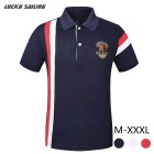 Lucky Sailing Men's Short-sleeved Polo Shirt - Drak Blue (XXL)