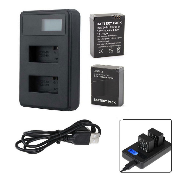 PANNOVO Battery Fast Charger + 1300mAh 301 Battery Set for GoPro 3 3+