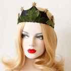 Leaves + Star Style Crown for Evening Parties - Army Green + Black