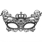 Frauen-Maskerade-Party Edle Mysterious Lace Crown Maske - Schwarz