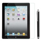 Protective Clear Tempered Glass Screen Protector w/ Stylus Pen for IPAD 2 / 3 / 4 - Transparent