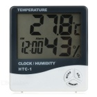 "Household Digital Thermohygrometer w/ 3.7"" Screen / Alarm Clock / Calendar - White + Black"