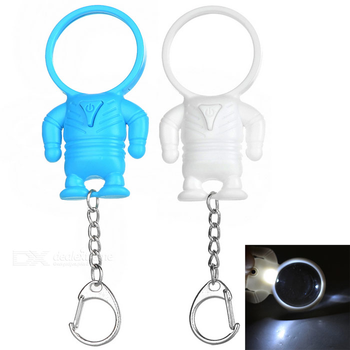 Chaveiros w / Magnifier / LED Lights - Azul + Branco (2PCS)