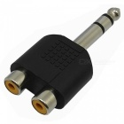6.35mm Male to 2-RCA Female Audio Adapters - Golden + Black (2PCS)