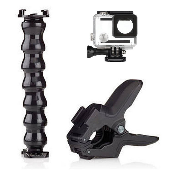 Jaws Clamp, Flex Gooseneck Mount, Waterproof Case for GoPro Hero 4/3+Other GoPro Accessories<br>Form ColorBlack + WhiteQuantity1 DX.PCM.Model.AttributeModel.UnitMaterialPlasticShade Of ColorBlackPacking List1 x Waterproof case1 x Jaw clamp1 x Flexible gooseneck<br>
