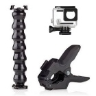 Jaws Clamp + Flex Gooseneck Mount Adjustable Neck + 40M Waterproof Housing Case for GoPro Hero 4/3+