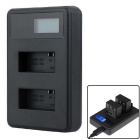 PANNOVO LCD Dual-Slot 301 302 Battery Fast Charger for GoPro Hero 3 / 3+ - Black