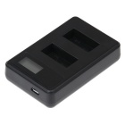 PANNOVO LCD2-Slot 301 302 Battery Fast Charger for GoPro 3 3+ - Black
