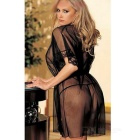 Frauen sexy-see-through-Strickjacke Bademantel Nachtkleid - schwarz