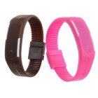 LED Touch Bracelet Watch Set - Brown + Deep Pink (1*LR1130 / 2PCS)
