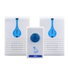 501K3 32-Melody Wireless Remote Control Transmitter + Dual-Receiver Doorbell Set - White + Blue