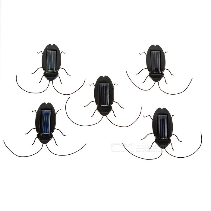 Energy Saving Solar Powered Cockroach Toy Set - Black (5PCS)