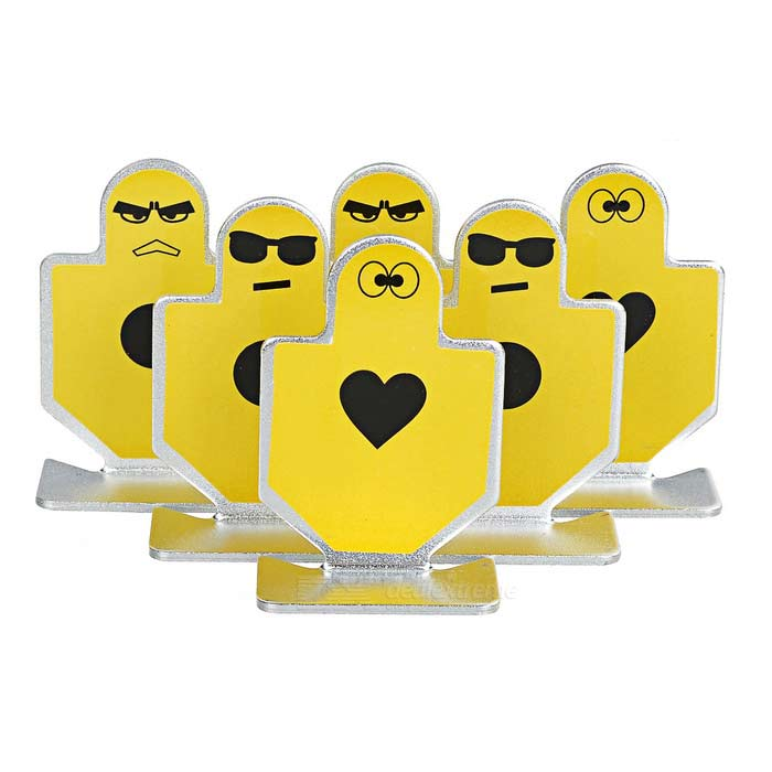 Different Emojis Style Aluminum Alloy Gunnery Target - Yellow (6PCS)