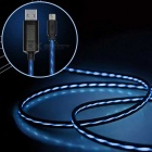 IN-Color Micro USB Visible Flowing Current Data Cable - Black (80cm)