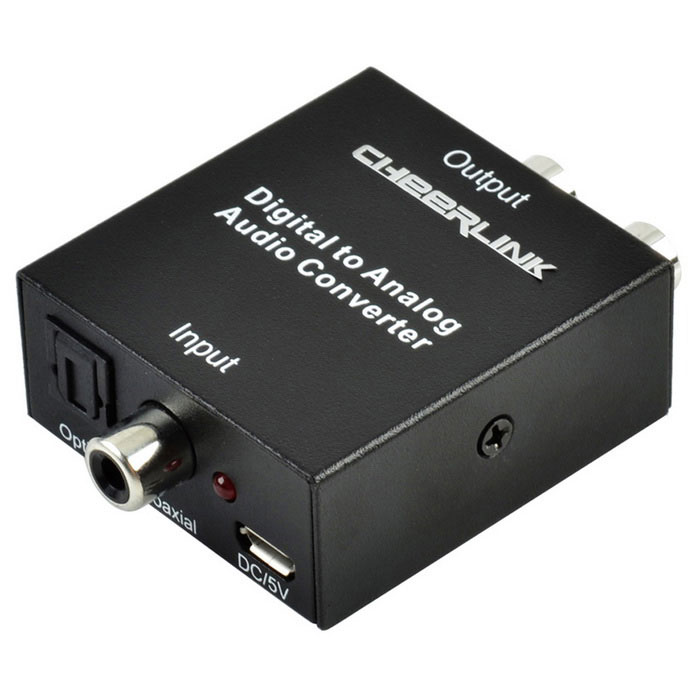 CHEERLINK Toslink Coaxial to L/R Analog Audio Converter - Black