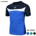 Lingsai Men's Short Sleeved T-shirt - Blue (XXXL)