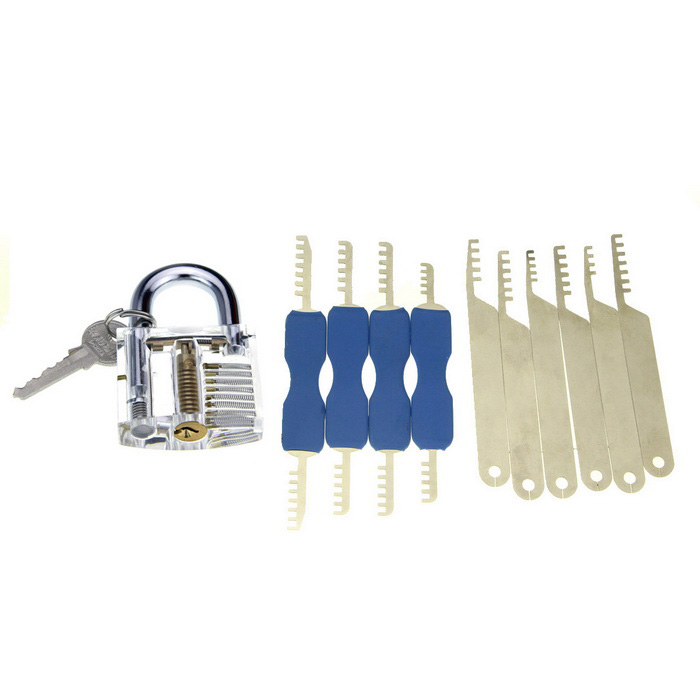 Practice Padlock + Comb Style Stainless Steel Lock Picks Set