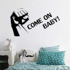"""COME ON BABY"" Lettering Wall Decal PVC Wall Sticker - Black"