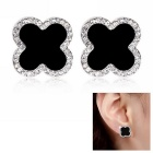 eQute Women's Clover Style Rhinestone Decorated Earrings - Black