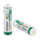 BTY 3.7V 2000mAh 18650 Rechargeable Li-ion Battery - White + Green (2pcs)