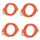 Micro V8 Round Cable Set - Orange (1m / 4PCS)