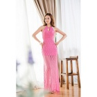 Women's Sexy Lace Halter Long Trailing Dress - Pink (L)