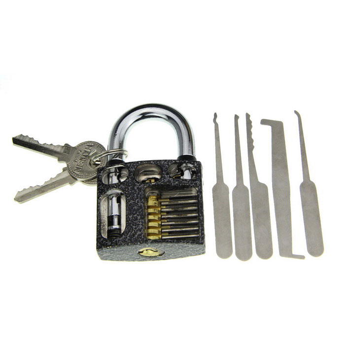 Slotted Practice Padlock + Single Hook Pick Tool Set