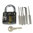 Slotted Practice Padlock + Stainless Steel Single Hook Pick Tool Set
