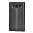 Lychee Pattern PU Case w/ Stand, Card Slots for Samsung A5 - Black