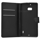 Lychee Pattern PU Case w/ Stand, Card Slots for Nokia Lumia 930 -Black