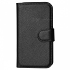 Lychee Pattern Protective PU Case w/ Stand / Card Slots for Samsung Galaxy Ace 4 G313H - Black