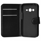 PU Case w/ Stand, Card Slots for Samsung Galaxy Ace 4 G313H - Black