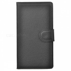 Lychee Pattern Protective Full Body PU Case w/  Stand / Card Slots for Nokia Lumia 925 - Black