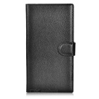 Lychee Pattern Protective Full Body PU Case w/  Stand / Card Slots for Nokia Lumia 1520 - Black