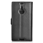 Lychee Pattern Case w/ Stand, Card Slots for Nokia Lumia 1520 - Black