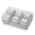 Wine Whiskey Drink Chiller Stones Ice Cubes - Silver (Square / 6PCS)