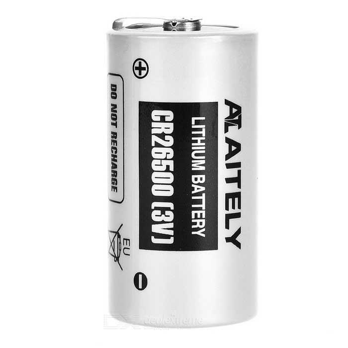 AITELY 3V Lithium CR26500-P Battery w/ Soldering Tab - White + Black