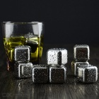 Wine Whiskey Drink Chiller Stones Ice Cubes - Silver (Square / 8PCS)