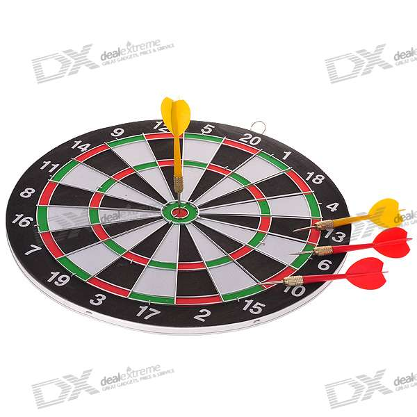 Colorful Dartboard with 4 Darts