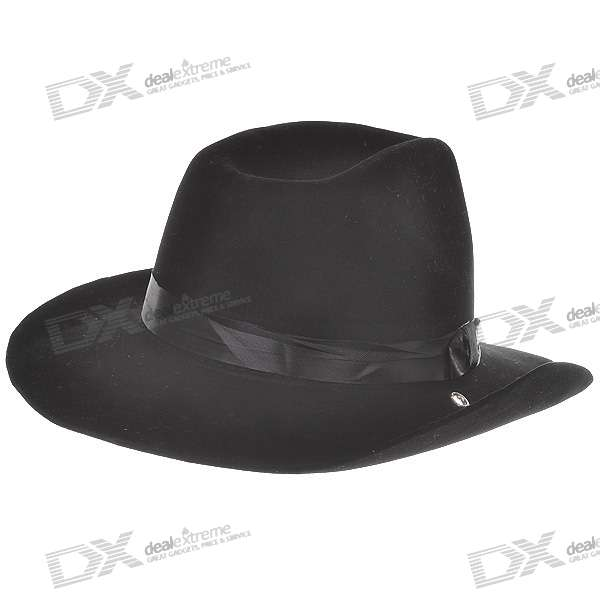 Wool Felt Cowboy Hat/Stetson - Black (50cm) stetson men s breakers premium shantung straw hat