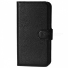 Lychee Pattern Protective PU Case w/ Stand / Card Slots for Nokia Lumia 535 - Black