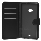 Lychee Pattern PU Case w/ Stand, Card Slot for Nokia Lumia 535 - Black
