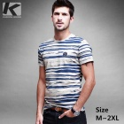 KUEGOU KPT-324 Men's Stripes Round Neck Short-Sleeve T-Shirt - Blue + Grey (XL)