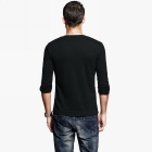 KUEGOU Men's Cool Long Sleeve Plain V Collar T-Shirt - Black (M)