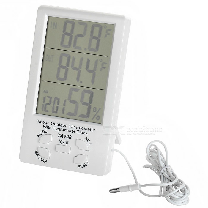 TA298 4.4 LCD Digital Indoor Outdoor Thermometer w/ Alarm - WhiteHousehold Thermometers<br>Form  ColorWhiteModelTA298MaterialABS + electronic componentsQuantity1 DX.PCM.Model.AttributeModel.UnitScreen Size4.4 DX.PCM.Model.AttributeModel.UnitBattery TypeAAAMeasurement UnitCelsius,FahrenheitMeasuring TemperatureOutdoor: -40~70C (-40~158F); Indoor: 0~50C (32~122F)Measuring Humidity10%~99%Battery Number1Battery included or notNoOther FeaturesTemperature Resolution: 0.1C (0.1F); Humidity Resolution: 1%.Packing List1 x Thermometer (150+/-2cm)<br>